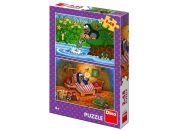 Dino Krtek a perla puzzle 2 x 48 dílků