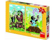 Dino Krtek na mýtině puzzle 2 x 48 dílků