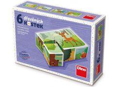 Dino Lesní zvířátka 6 dřevěné kostky