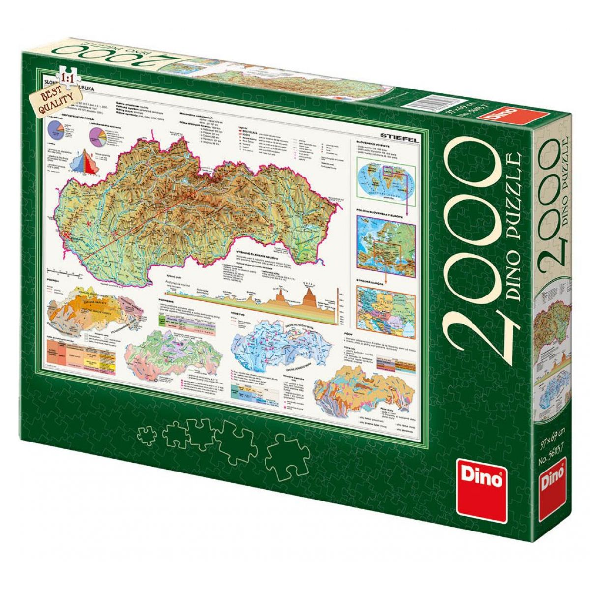 Dino Mapy Slovenska puzzle 2000 dílků
