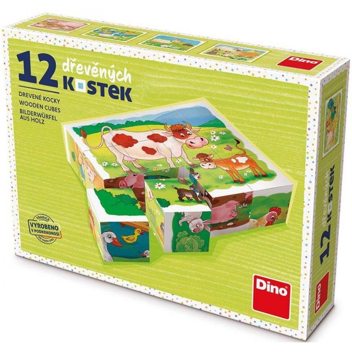 Dino Na Farmě dřevěné kostky 12 ks