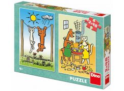 Dino Pejsek a kočička puzzle 2 x 48 dílků