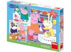 Dino Peppa Pig Veselé odpoledne puzzle 3 x 55 dílků