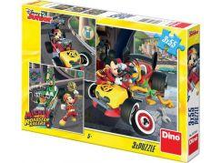 Dino Puzzle Disney Mickey a Minnie závodníci 3 x 55 dílků