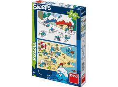 Dino Puzzle Hraví Šmoulové 2 x 48 dílků