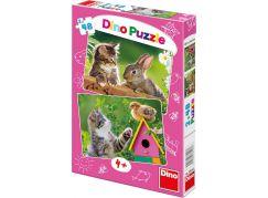 Dino Puzzle Koťátko a kamarádi 2x48dílků