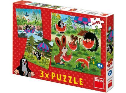 Dino Puzzle Krtek a paraplíčko 3x55 dílků