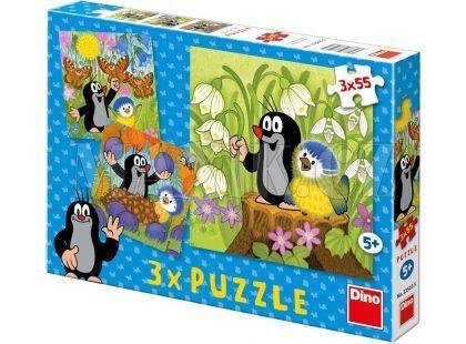 Dino Puzzle Krtek a ptáček 3x55 dílků