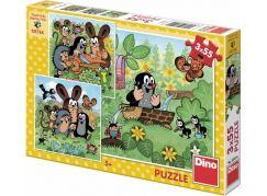 Dino Puzzle Krtek a zvířátka 3 x 55 dílků