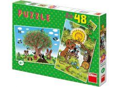 Dino Puzzle Krtek Léto s Krtečkem 2x48dílků