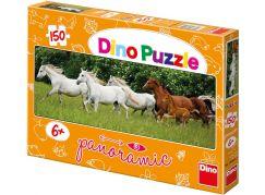 Dino Puzzle Panoramic Běžící koně 150 dílků