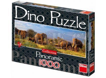 Dino Puzzle Panoramic Stádo slonů 1000dílků