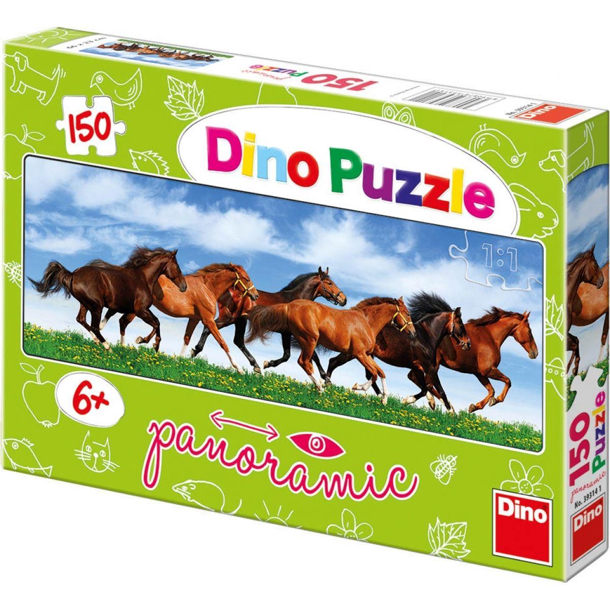 Dino Puzzle Panoramic Úprk koní 150dílků