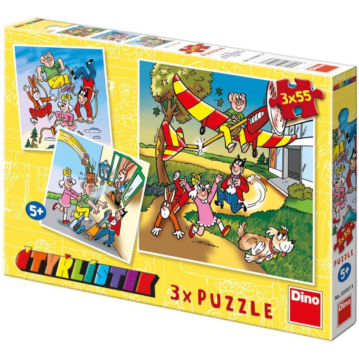 Dino Puzzle Čtyřlístek 3x55 dílků