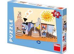 Dino Puzzle Veselá Mašinka v depu 24 dílků