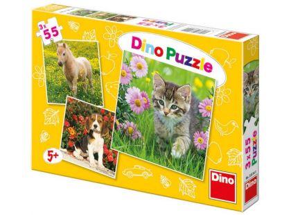 Dino Puzzle Zvířátka na zahradě 3x55dílků