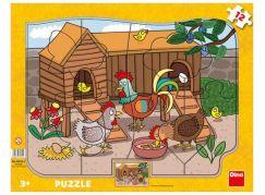 Dino Slepičky deskové puzzle 12 dílků