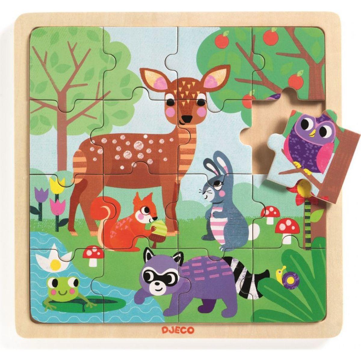 Djeco Dřevěné puzzle Lesní zvířátka