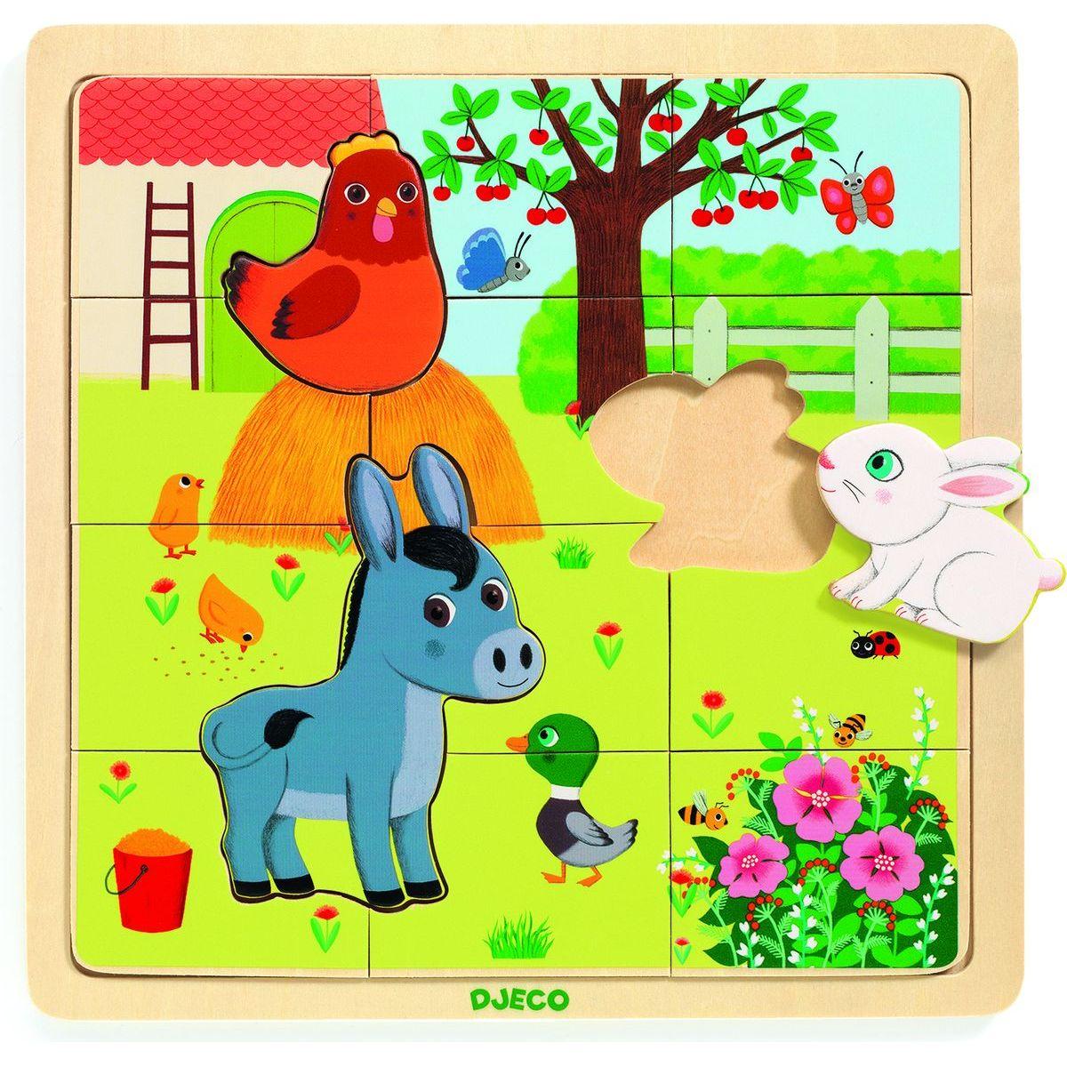 Djeco Dřevěné puzzle Na Farmě
