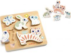 Djeco Pastelová mláďátka vkládací dřevěné puzzle
