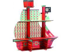 Djeco polička Dřevěná pirátská loď na zeď
