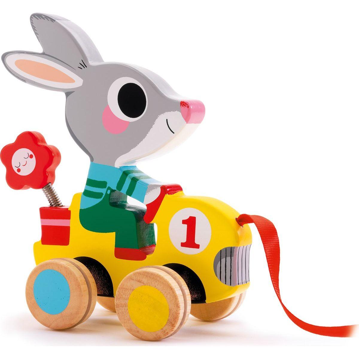 Djeco Tahací hračka Zajíček ve formuli