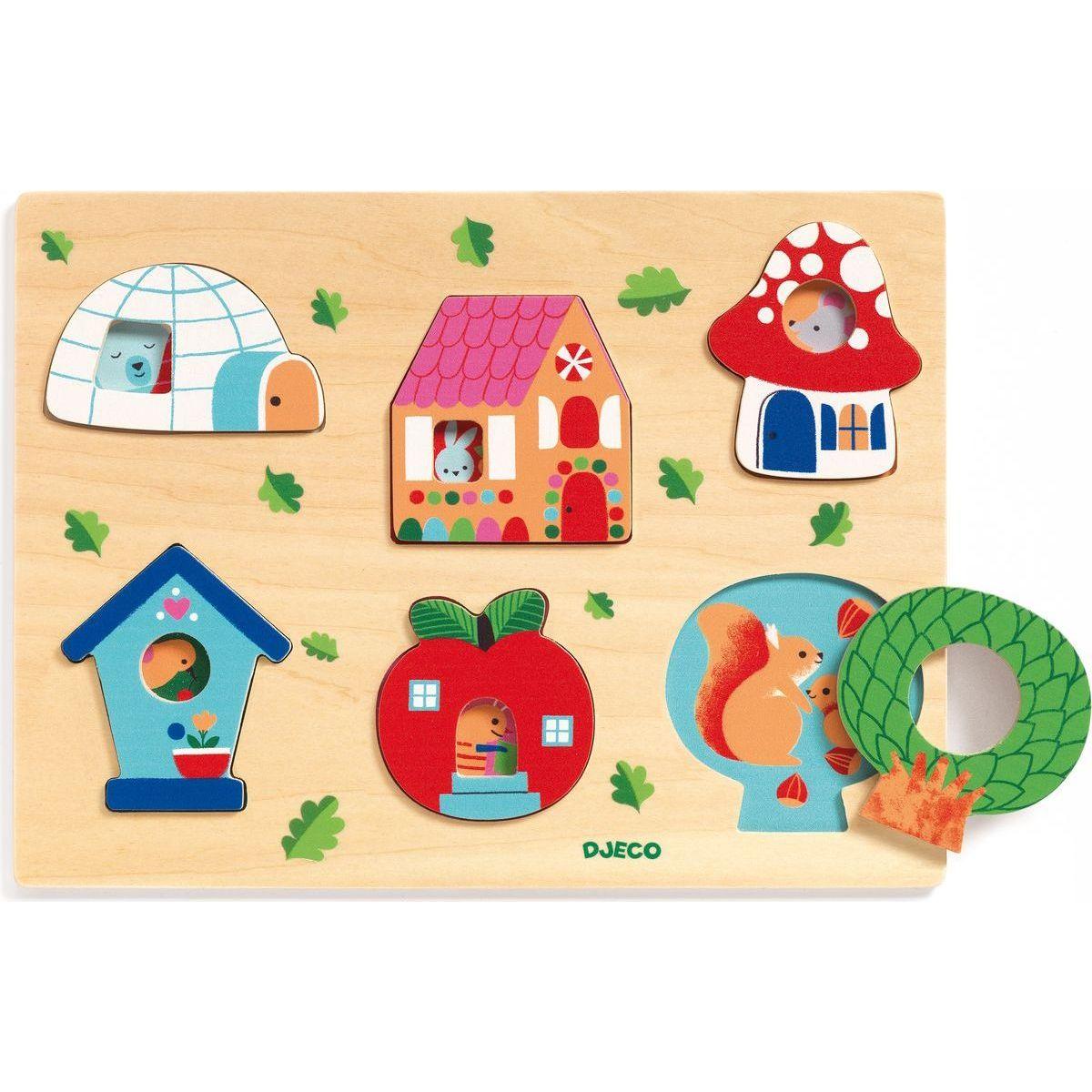 Djeco Vkládací puzzle s okénky domov