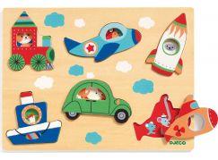 Djeco Vkládací puzzle s okénky dopravní prostředky