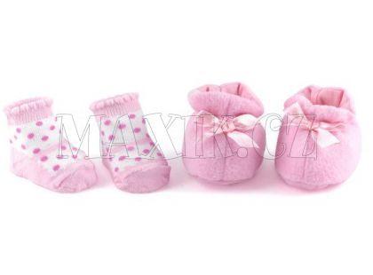 Dolls World Boty a ponožky - Růžové botičky