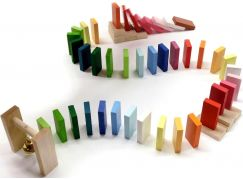 Dřevěná Dominová dráha se zvonečkem 95 ks