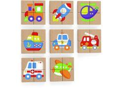 Viga Dřevěné magnetické puzzle - dopravní prostředky