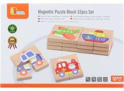 Dřevěné magnetické puzzle - dopravní prostředky
