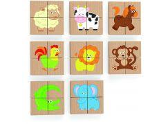 Viga Dřevěné magnetické puzzle - zvířátka