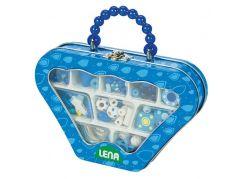 Dřevěné perly v kovovém obalu, modré
