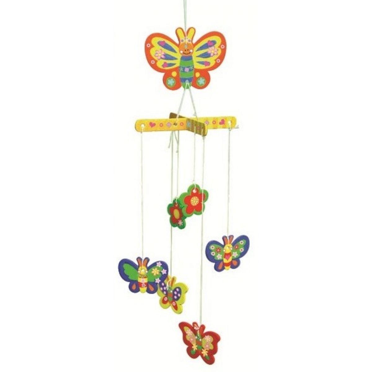 Dřevěné puzzle houpací závěs 20 x 15 cm motýl