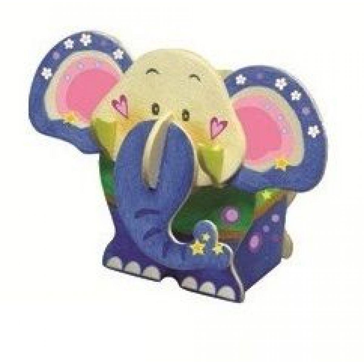 Dřevěné puzzle stojánek 20 x 15 cm slon