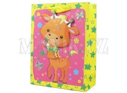 Dárková taška Zvířátka baby lesk - Žirafa