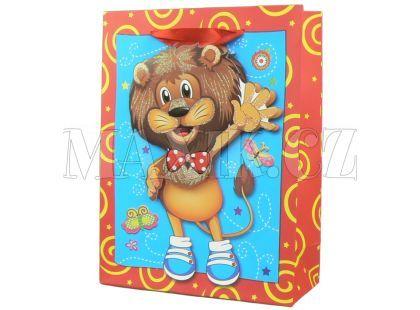 Dárková taška Zvířátka baby lesk - Lev
