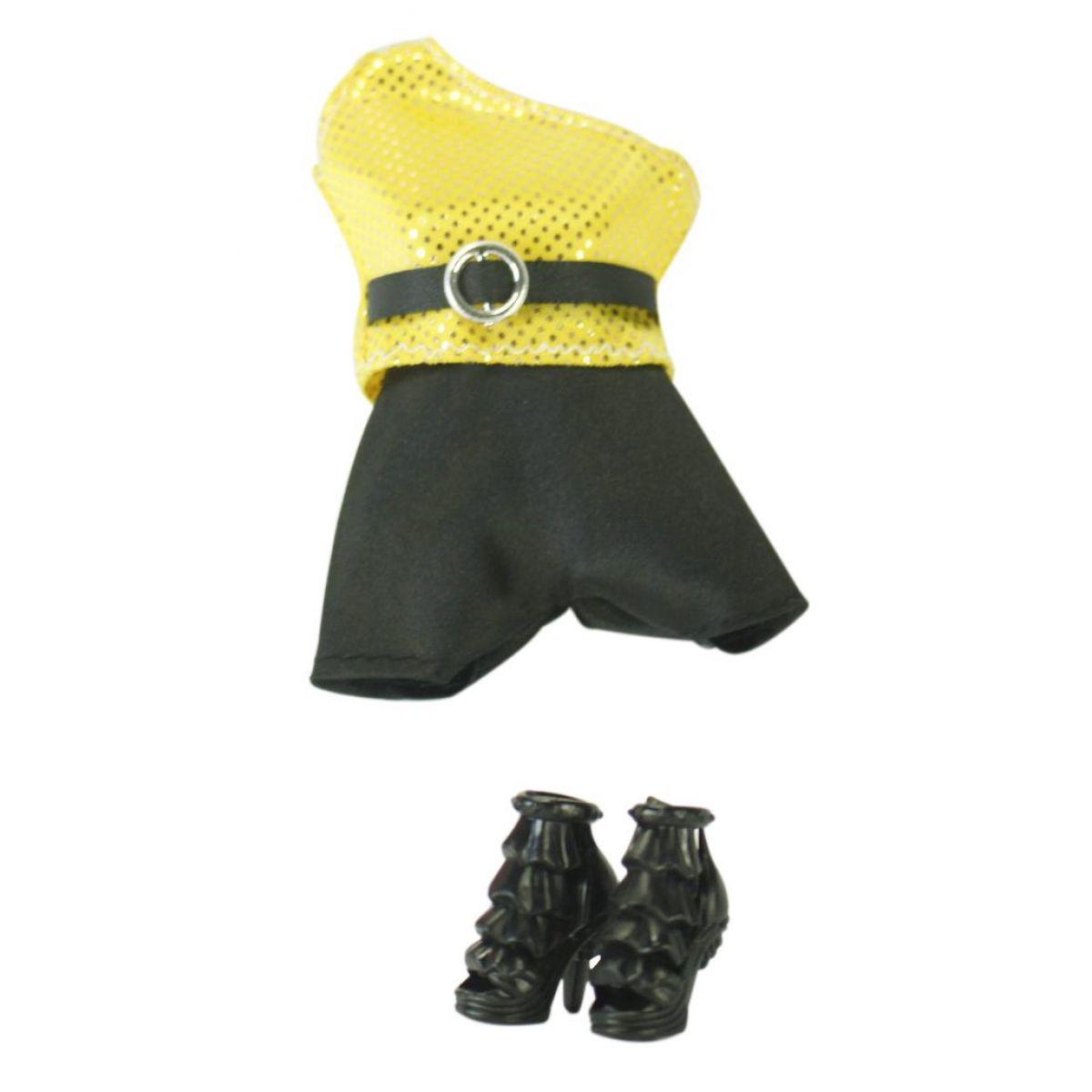 EPline Šatičky pro panenky s doplňky černo-žlutý overal s černým páskem