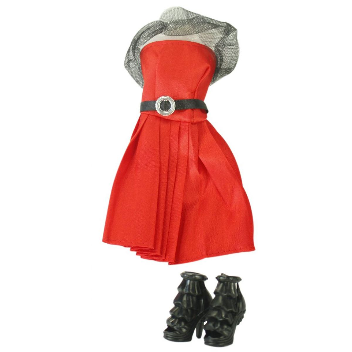 EPline Šatičky pro panenky s doplňky červené šaty s černým páskem