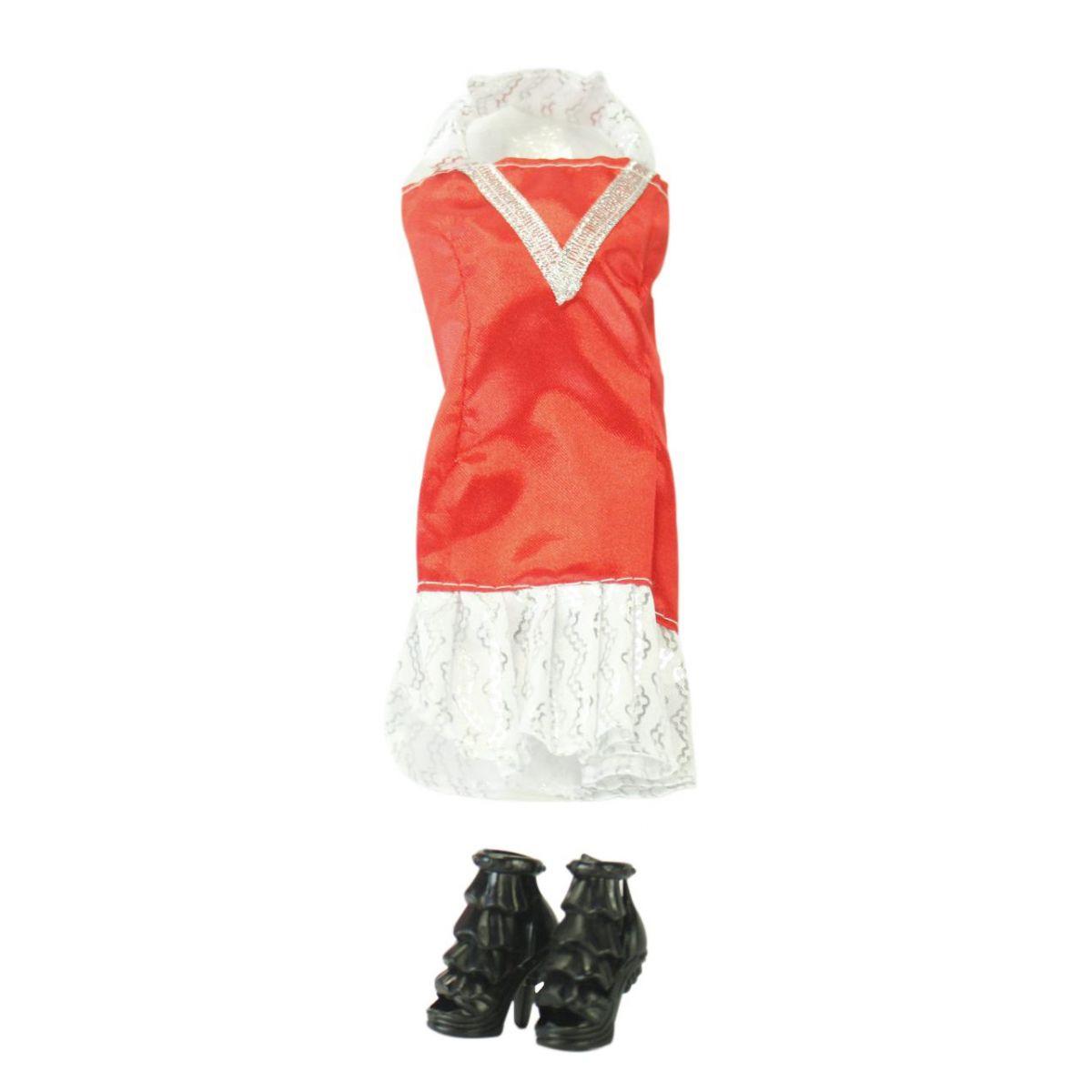 EPline Šatičky pro panenky s doplňky červeno-stříbrné šaty