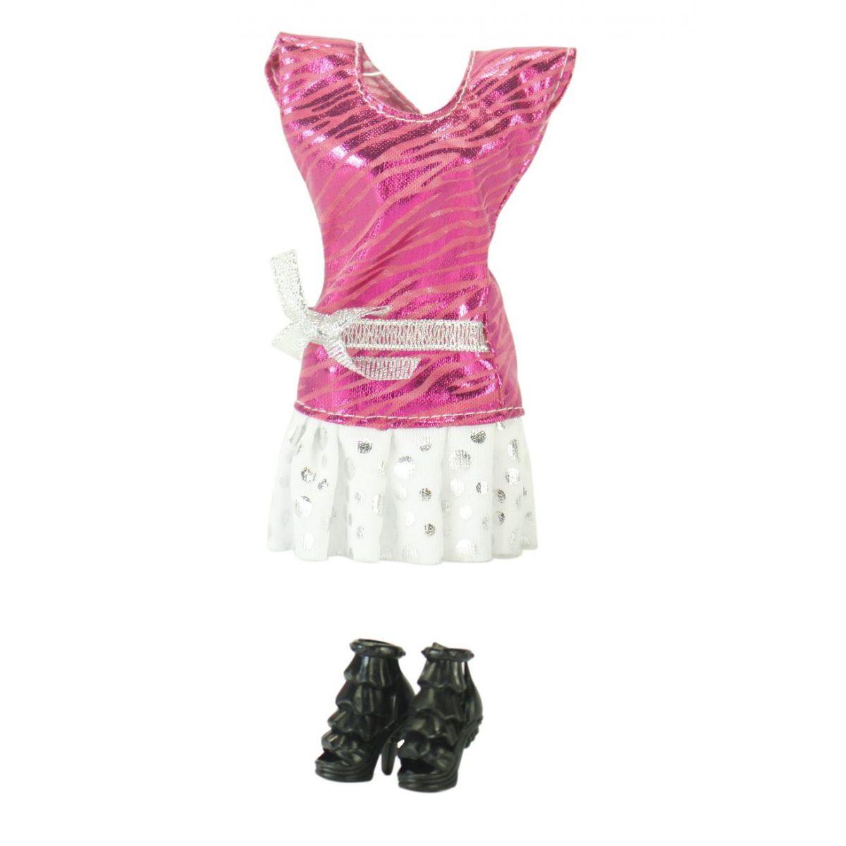 EPline Šatičky pro panenky s doplňky růžové šaty s bílou sukní