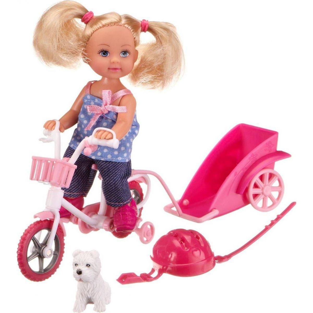 Evi Love Panenka Evička na kole s vozíkem kraťasy a tričko