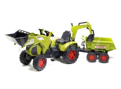 Falk Šlapací traktor Claas Axos s přední i zadní lžící