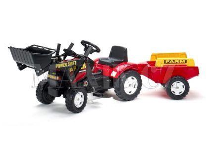 Falk Šlapací traktor Farm s valníkem a lžící červený