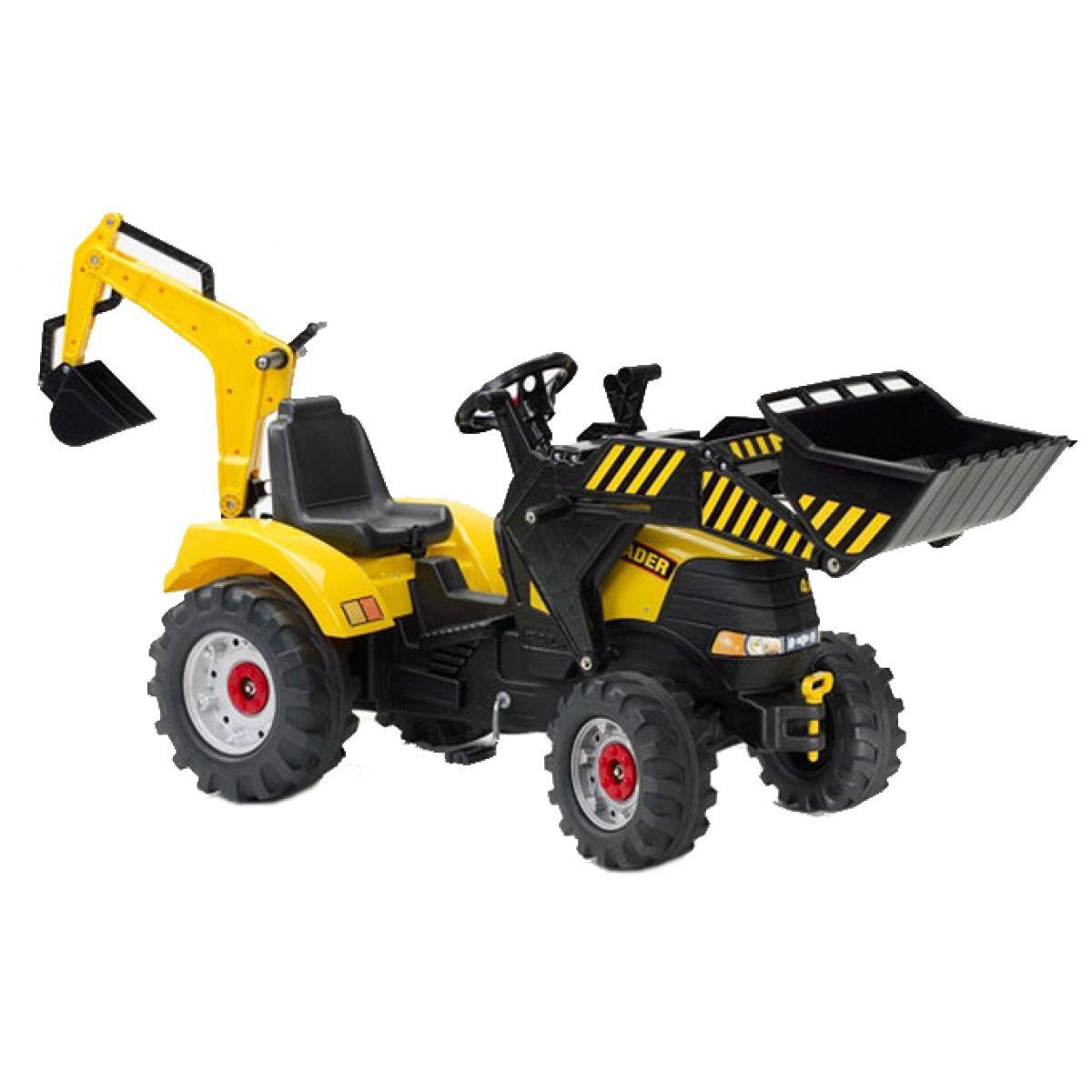 Falk Šlapací traktor žlutý s nakladačem a bagrem