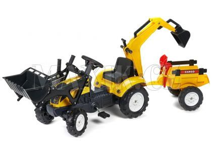 Falk Šlapací traktor Ranch Track žlutý s přední i zadní lžící a valníkem