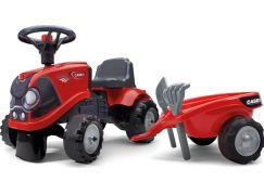 Falk Odstrkovadlo traktor Baby Case IH červený s vlečkou, lopatkou a hrabičkami