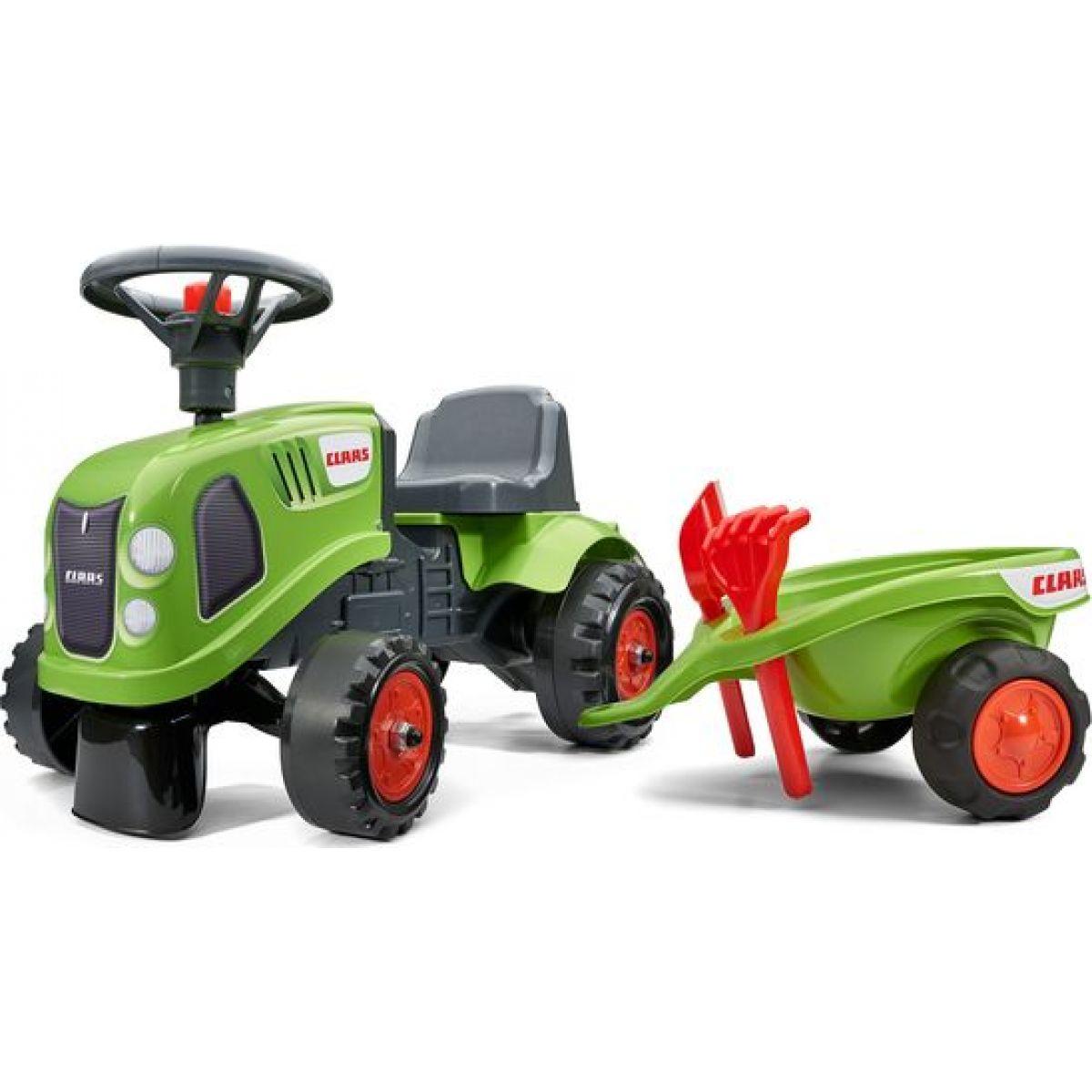Falk Odstrkovadlo traktor Claas zelené s volantem a valníkem
