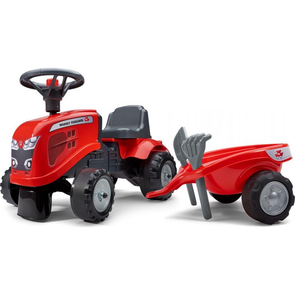Falk Odstrkovadlo traktor Massey Ferguson červené, volant a valník